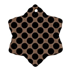 Circles2 Black Marble & Brown Colored Pencil (r) Snowflake Ornament (two Sides) by trendistuff