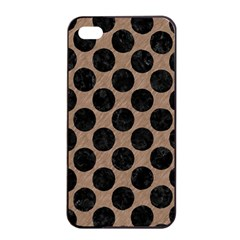 Circles2 Black Marble & Brown Colored Pencil (r) Apple Iphone 4/4s Seamless Case (black) by trendistuff
