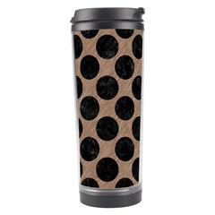 Circles2 Black Marble & Brown Colored Pencil (r) Travel Tumbler by trendistuff