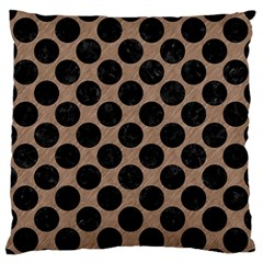 Circles2 Black Marble & Brown Colored Pencil (r) Large Flano Cushion Case (one Side) by trendistuff