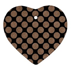 Circles2 Black Marble & Brown Colored Pencil Ornament (heart) by trendistuff