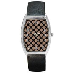 Circles2 Black Marble & Brown Colored Pencil Barrel Style Metal Watch by trendistuff