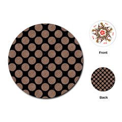 Circles2 Black Marble & Brown Colored Pencil Playing Cards (round) by trendistuff