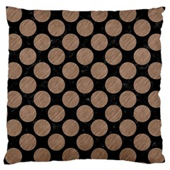 Circles2 Black Marble & Brown Colored Pencil Large Cushion Case (one Side) by trendistuff