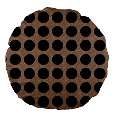 Circles1 Black Marble & Brown Colored Pencil (r) Large 18  Premium Round Cushion