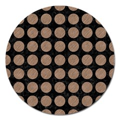 Circles1 Black Marble & Brown Colored Pencil Magnet 5  (round) by trendistuff