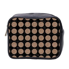 Circles1 Black Marble & Brown Colored Pencil Mini Toiletries Bag (two Sides) by trendistuff