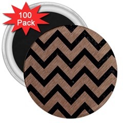 Chevron9 Black Marble & Brown Colored Pencil (r) 3  Magnet (100 Pack) by trendistuff