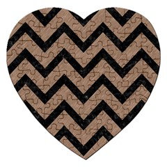 Chevron9 Black Marble & Brown Colored Pencil (r) Jigsaw Puzzle (heart) by trendistuff