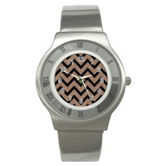 Chevron9 Black Marble & Brown Colored Pencil (r) Stainless Steel Watch
