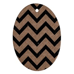 Chevron9 Black Marble & Brown Colored Pencil (r) Oval Ornament (two Sides) by trendistuff