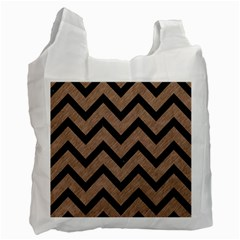 Chevron9 Black Marble & Brown Colored Pencil (r) Recycle Bag (two Side) by trendistuff