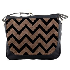 Chevron9 Black Marble & Brown Colored Pencil (r) Messenger Bag by trendistuff