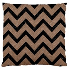 Chevron9 Black Marble & Brown Colored Pencil (r) Large Cushion Case (one Side)