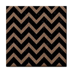 Chevron9 Black Marble & Brown Colored Pencil Tile Coaster by trendistuff