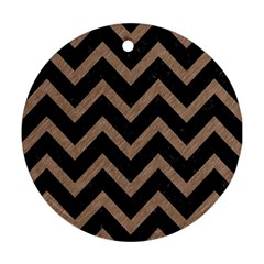 Chevron9 Black Marble & Brown Colored Pencil Round Ornament (two Sides) by trendistuff