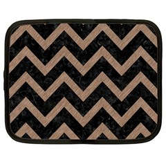 Chevron9 Black Marble & Brown Colored Pencil Netbook Case (large) by trendistuff