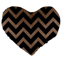 Chevron9 Black Marble & Brown Colored Pencil Large 19  Premium Flano Heart Shape Cushion by trendistuff