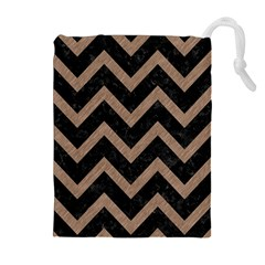 Chevron9 Black Marble & Brown Colored Pencil Drawstring Pouch (xl) by trendistuff