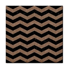 Chevron3 Black Marble & Brown Colored Pencil Tile Coaster by trendistuff