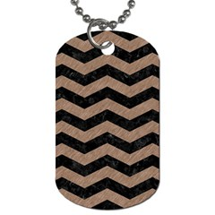 Chevron3 Black Marble & Brown Colored Pencil Dog Tag (two Sides) by trendistuff
