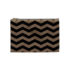Chevron3 Black Marble & Brown Colored Pencil Cosmetic Bag (medium) by trendistuff