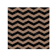 Chevron3 Black Marble & Brown Colored Pencil Small Satin Scarf (square) by trendistuff