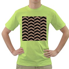 Chevron2 Black Marble & Brown Colored Pencil Green T Shirt by trendistuff