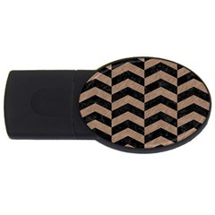 Chevron2 Black Marble & Brown Colored Pencil Usb Flash Drive Oval (4 Gb) by trendistuff