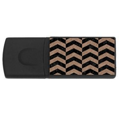 Chevron2 Black Marble & Brown Colored Pencil Usb Flash Drive Rectangular (4 Gb) by trendistuff