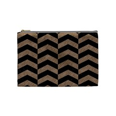 Chevron2 Black Marble & Brown Colored Pencil Cosmetic Bag (medium) by trendistuff