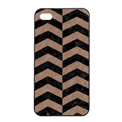 Chevron2 Black Marble & Brown Colored Pencil Apple Iphone 4/4s Seamless Case (black) by trendistuff