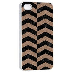 Chevron2 Black Marble & Brown Colored Pencil Apple Iphone 4/4s Seamless Case (white) by trendistuff
