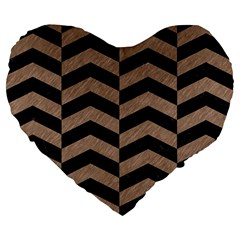 Chevron2 Black Marble & Brown Colored Pencil Large 19  Premium Flano Heart Shape Cushion by trendistuff