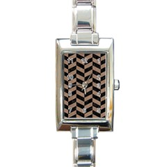 Chevron1 Black Marble & Brown Colored Pencil Rectangle Italian Charm Watch by trendistuff