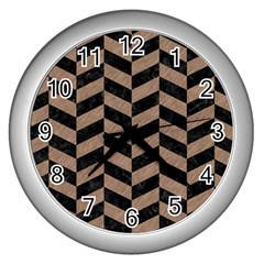 Chevron1 Black Marble & Brown Colored Pencil Wall Clock (silver) by trendistuff