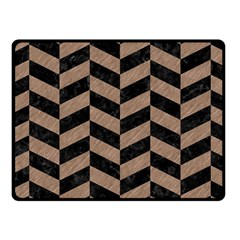 Chevron1 Black Marble & Brown Colored Pencil Fleece Blanket (small) by trendistuff