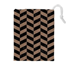 Chevron1 Black Marble & Brown Colored Pencil Drawstring Pouch (xl) by trendistuff