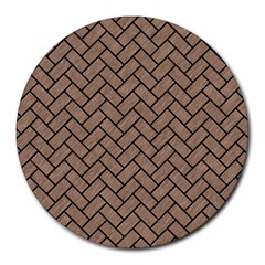 Brick2 Black Marble & Brown Colored Pencil (r) Round Mousepad by trendistuff