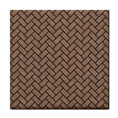 Brick2 Black Marble & Brown Colored Pencil (r) Face Towel by trendistuff
