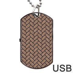 Brick2 Black Marble & Brown Colored Pencil (r) Dog Tag Usb Flash (two Sides) by trendistuff