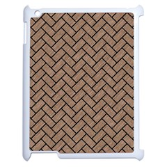 Brick2 Black Marble & Brown Colored Pencil (r) Apple Ipad 2 Case (white) by trendistuff