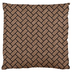 Brick2 Black Marble & Brown Colored Pencil (r) Large Cushion Case (one Side)