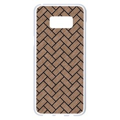Brick2 Black Marble & Brown Colored Pencil (r) Samsung Galaxy S8 Plus White Seamless Case by trendistuff