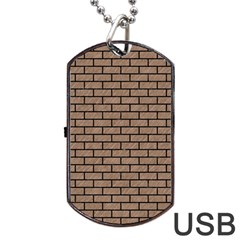 Brick1 Black Marble & Brown Colored Pencil (r) Dog Tag Usb Flash (two Sides) by trendistuff