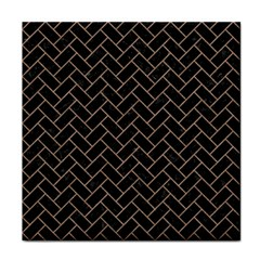 Brick2 Black Marble & Brown Colored Pencil Tile Coaster by trendistuff