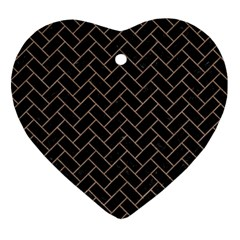 Brick2 Black Marble & Brown Colored Pencil Ornament (heart) by trendistuff