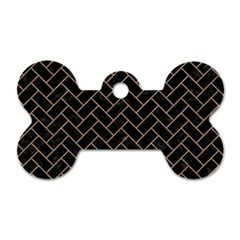 Brick2 Black Marble & Brown Colored Pencil Dog Tag Bone (one Side)