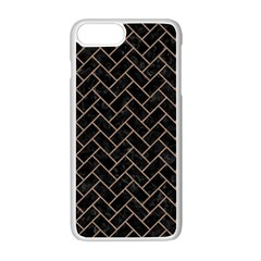 Brick2 Black Marble & Brown Colored Pencil Apple Iphone 7 Plus White Seamless Case by trendistuff