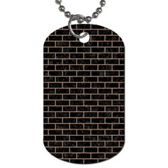 Brick1 Black Marble & Brown Colored Pencil Dog Tag (two Sides) by trendistuff